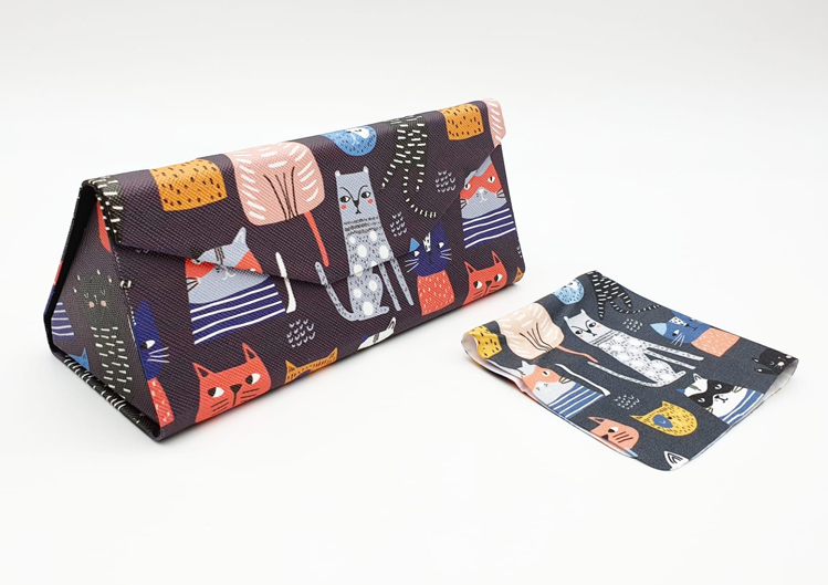cat folding glasses case angle view