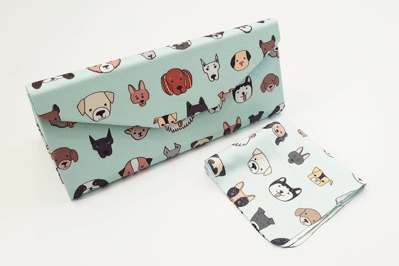 dog folding glasses case angle view